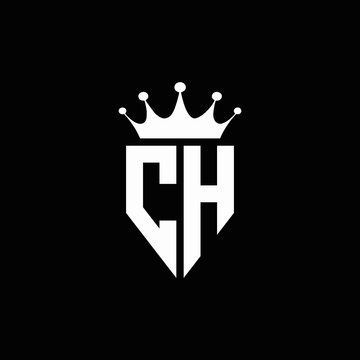 CH logo monogram emblem style with crown shape design template