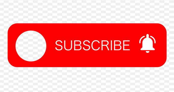 SUBSCRIBE - button red color with handon transparent background. YouTube channel. Vector illustration.