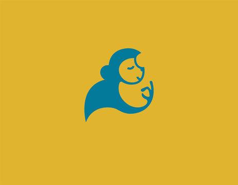Creative logo icon funny monkey in profile
