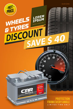 Tire shop vector banner of car wheel tyres and sale price offer. Car battery. Tire shop, spare parts and auto service discount promotion design. Tyre car advertisement poster.