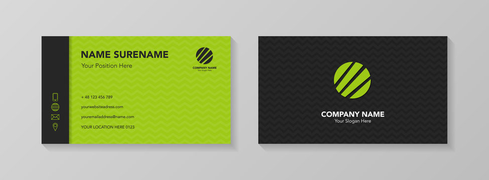 Business card template with creative icons. Vector