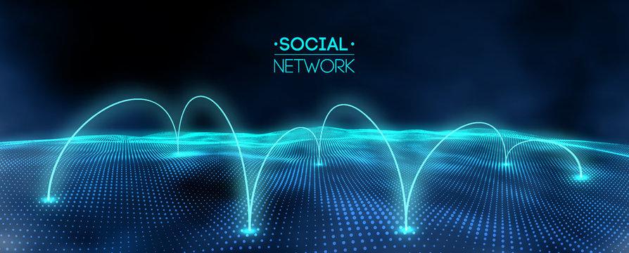 Network concept blue vector illustration. Futuristic hexagon vector illustration. Futuristic hexagon vector illustration. HUD element. Technology concept. 3d landscape. Big data.