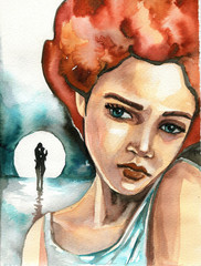 Watercolor illsutration depicting a sad girl on the background of the moon.