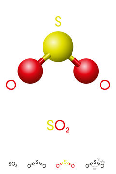 Sulfur dioxide, SO2, molecule model and chemical formula. Sulfurous anhydride, a toxic gas and an air pollutant. Ball-and-stick model, geometric structure and structural formula. Illustration. Vector.