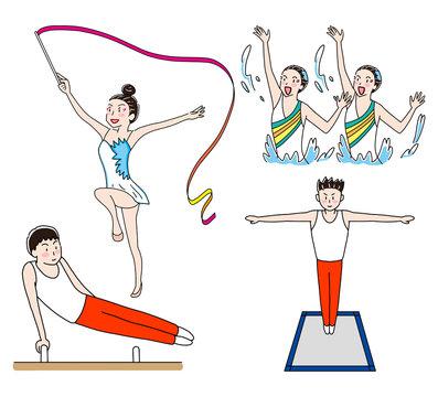 シンクロ・新体操・あん馬・トランポリンオリンピック体操競技表現競技イラストセット