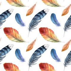 Seamless pattern of different watercolor feathers. Colored feathers of different birds on a white background