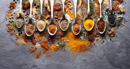 Garden Poster Food Spices powder on graphite board