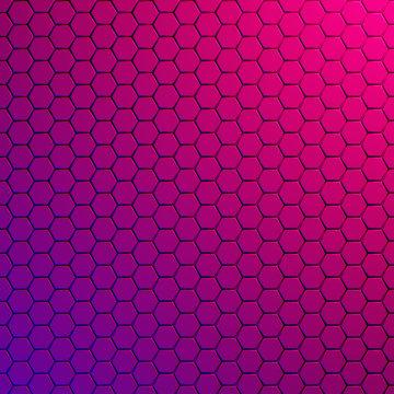 Geometric hexagonal modern background, pink, violet - 3d render
