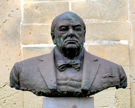 Büste von Winston Churchill, Upper Barracca Garden, Valetta, Malta