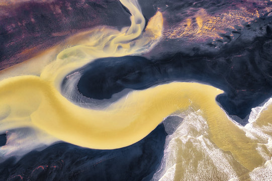 Colorful River Aerial taken in Southern Iceland