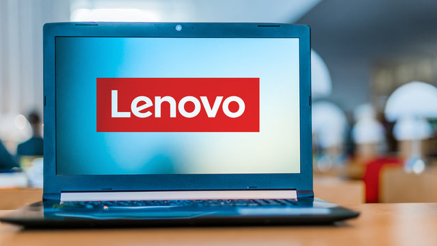 Laptop computer displaying logo of Lenovo