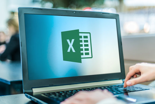 Laptop computer displaying logo of Microsoft Excel
