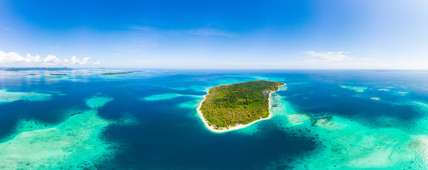 Acrylic Prints Island Aerial: exotic tropical island secluded destination away from it all, coral reef caribbean sea turquoise water white sand beach. Indonesia Sumatra Banyak islands