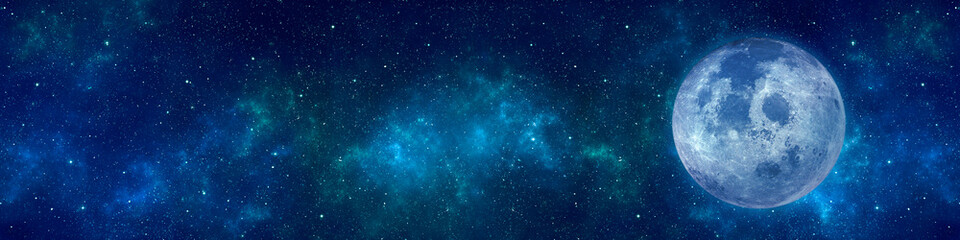 Full moon or supermoon, nebula and stars in night sky web banner. Space background. Elements of this image furnished by NASA.
