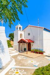Wall Mural - Beautiful whitewashed Greek church on island of Samos, Aegean Sea, Greece