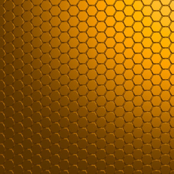 Geometric hexagonal dark gold metal modern background - 3d render