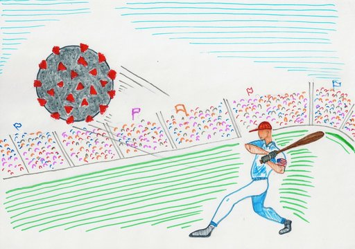 an American baseball player sweeping away the covid-19 virus with his bat