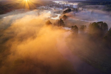 Foto op Plexiglas Oranje Scenic autumn sunrise
