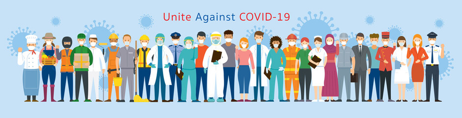 Group of People Multinational Wearing Face Mask United to Prevent Covid-19, Coronavirus
