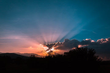 Foto auf AluDibond Blau türkis Silhouette Trees On Landscape Against Sky At Sunset