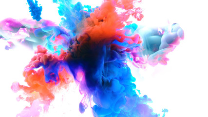 Fototapete - Color drops in water , abstract color mix , drop of Ink color mix paint falling on water Colorful ink in water,