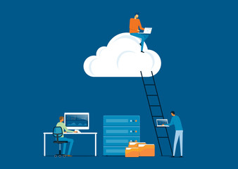 flat vector business technology storage cloud computing service concept with developer team working and a man working on cloud