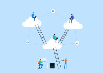 flat vector business technology server storage and cloud connection concept with people working on cloud