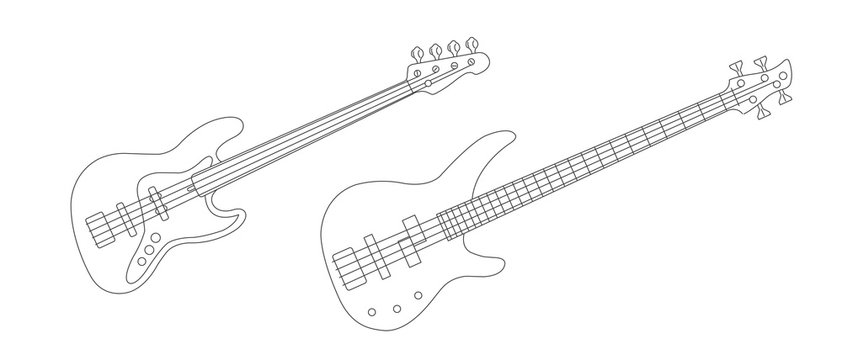 Line illustration of bass and electric guitars, simple drawing realistic detailed linear graphic