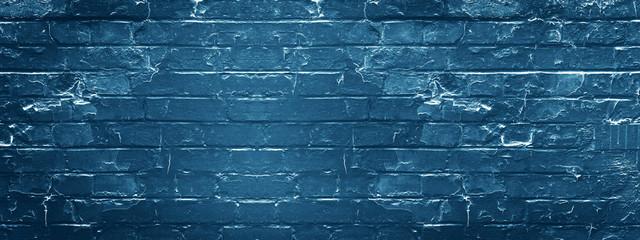 Dark blue rustic brick wall texture background
