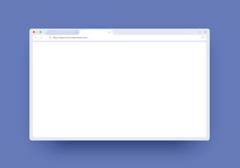 Browser window mockup with empty space for website, laptop and computer. Internet page window concept for desktop, pad and smartphone. Minimalistic clean template isolated on white background.
