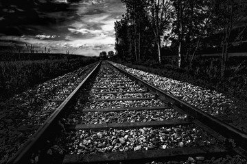Spoed Fotobehang Spoorlijn Close-up Of Railroad Tracks