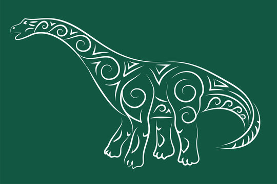 Hand drawn tribal art with diplodocus sihouette