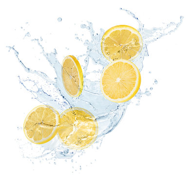 lemon slices in water splash isolated on a white background