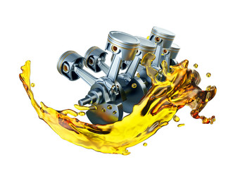 3D illustration of parts in car engine with lubricant oil on repairing