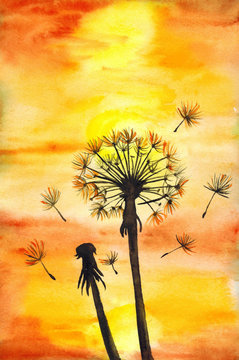 Watercolor yellow sun shine dandelions field landscape. Bright colorful watercolor background. Fire, autumn or sunset colors watercolour texture with stains. Yellow, orange, red gradient fill. Hand dr