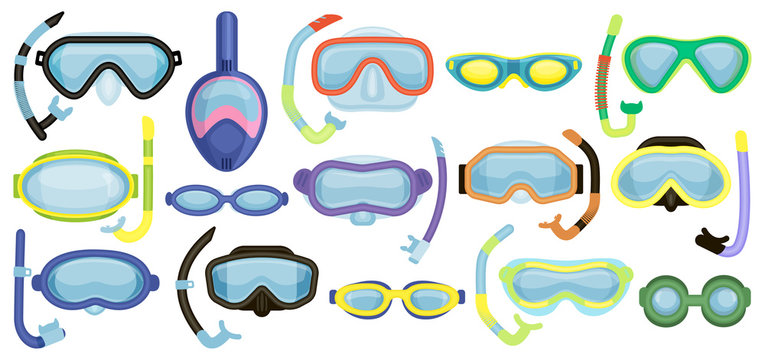 Masks for swimming vector cartoon set icon. Isolated cartoon set icon underwater glasses . Vector illustration masks for swimming on white background.