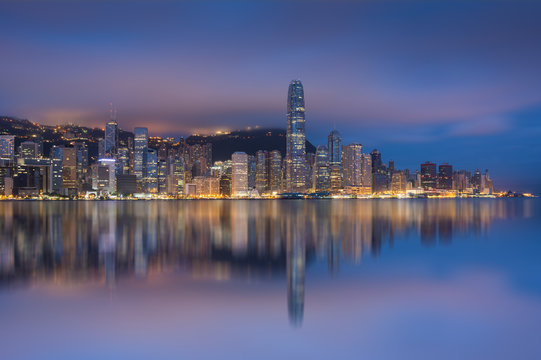 View of Financial district of Hong Kong in overcast day in monsoon morning