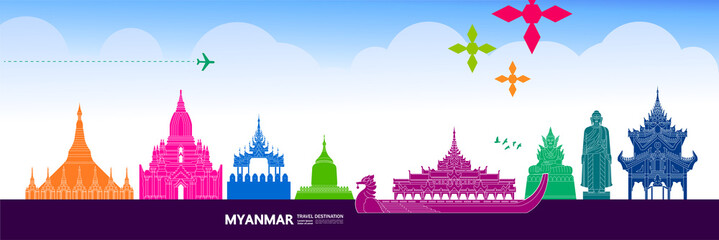 Fototapete - Myanmar travel destination grand vector illustration.