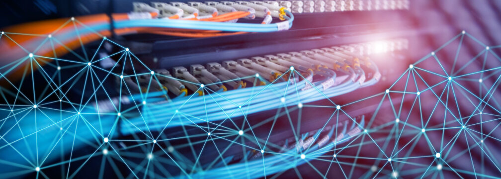 Visual Effect Connection network in servers data center room. Elongated horizontal background.