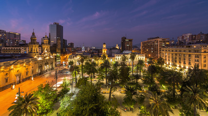 Plaza de Armas square at dusk in Santiago, the capital and largest city in Chile, South America.
