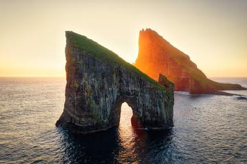 Drangarnir Rocks during Sunset in the Faroe Islands, Denmark