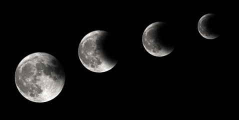 Four steps of moon eclipse, lunar eclipse, background