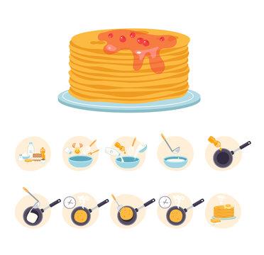 Pancake cook recipe steps. Vector flat cartoon graphic design illustration