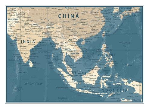 Southeast Asia Map - Vintage Vector Illustration