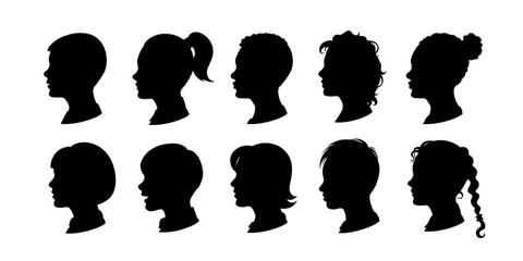 Kids silhouettes collection. Vector isolated boys and girls illustrations.