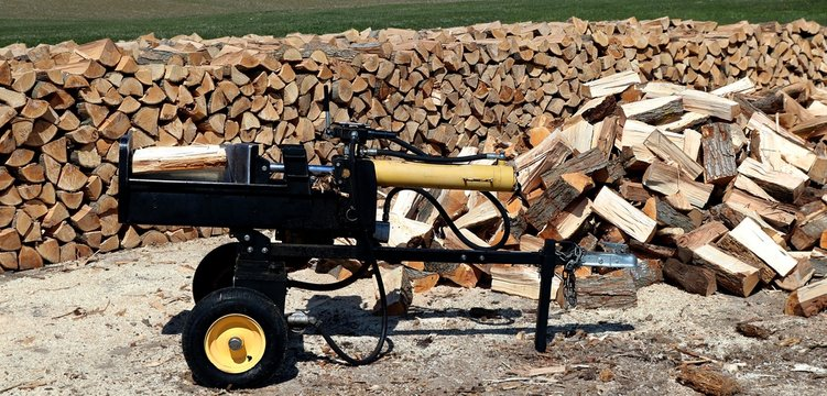 Wood splitter with heap and piled wood behind