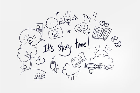 vector sketch lettering word doodle concept illustration it's story time
