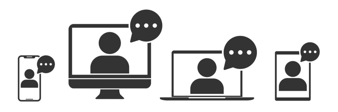 Online training in laptop, computer monitor, tablet, smartphone icon in simple design. Vector illustration