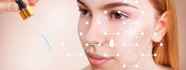 Infographic shows cleansing effect on beautiful female face.