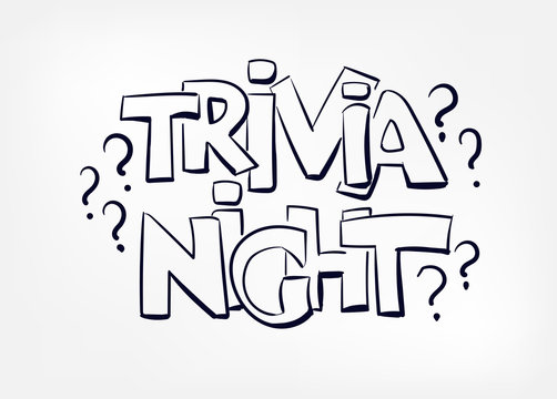 trivia night concept vector doodle sketch hand drawn lettering word